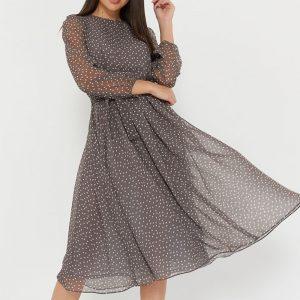 Polka Dot Print Elegant O-neck Lantern Sleeve Midi Dress